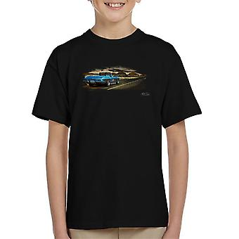 Chevrolet Corvette Stingray Convertible Desert Art Black Kid's T-Shirt