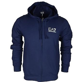 EA7 by Emporio Armani 3zpm59 Funnel Neck Zip Cotton Navy Blue Hoodie
