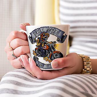 バイカー アメリカ スカル ホワイト ティー コーヒー セラミック カフェラテ マグカップに生まれた 17 oz |Wellcoda
