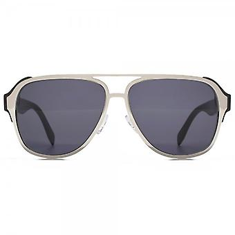 Alexander McQueen Sculpted Metal Pilot Sunglasses In Silver Black