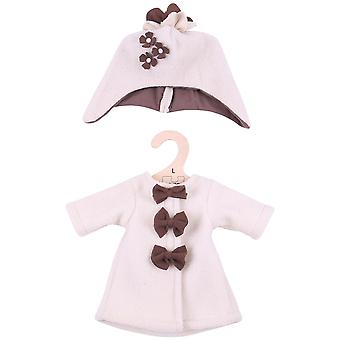 Bigjigs Toys Beige Rag Doll Fleece Coat & Hat (38cm) Doll Clothing Outfit
