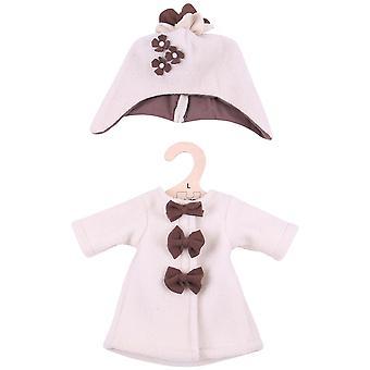 Bigjigs giocattoli Beige Rag Doll pile cappotto e cappello per bambola molle 38cm