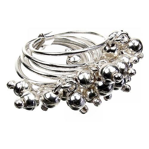 Silver Bead Charm Ring