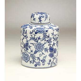 AA Importing 59944 8 Inch Blue & White Ginger Jar