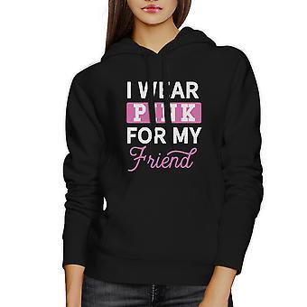 Indossare per il mio amico nastro rosa Felpa nera con cappuccio Pullover Maglia rosa