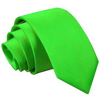 Apple Green Plain Satin Slim Krawatte