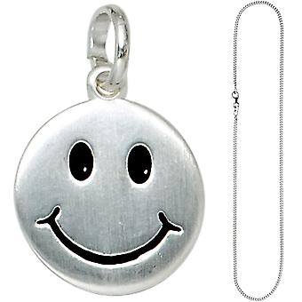 Children trailer smiling face 925 Silver kids pendant with chain 42 cm