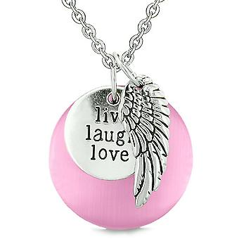 Guardian Angel Wing Live Laugh Love inspirerende Amulet roze gesimuleerd Cats Eye ketting
