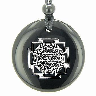 Sri Yantra チャクラお守りブラックオニキス宝石魔方陣の霊的力ペンダント ネックレス