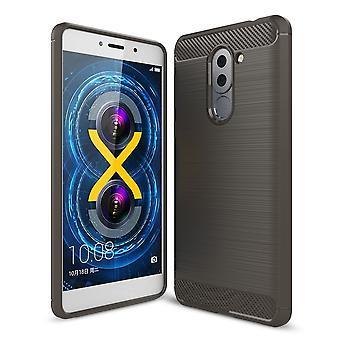 Huawei honor 6 X TPU case carbon fiber optics bescherming cover grijs geborsteld