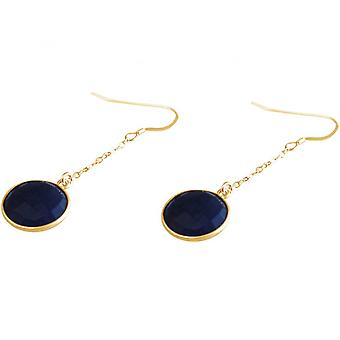 Damen - Ohrringe - Ohrhänger -  925 Silber - Vergoldet - Saphir - Blau - 3,5 cm
