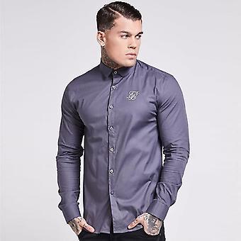 Sik Silk Long Sleeve Poly Stretch Shirt Grey