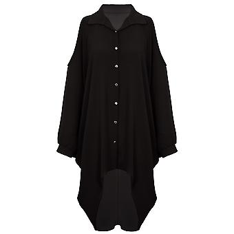 Ladies Cold Shoulder Batwing Oversized Chiffon Crepe Collar High Low Shirt