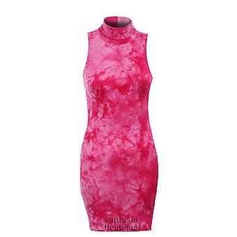 9dbca164a4ce Nya damer ärmlös Tie Dye effekt sköldpadda halsen kvinnors Bodycon klänning