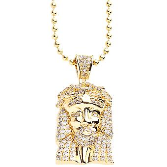 Iced out bling micro pave necklace - MINI JESUS gold