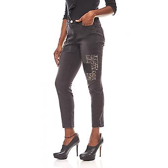 Rick cardona women's jeans pant with sequins short size black tubes