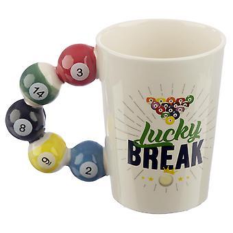 Pool Balls Tasse Lucky Break mit Pool Bällen am Henkel weiß, bedruckt, 100 % Keramik, in Geschenkverpackung.