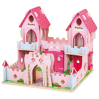 Bigjigs Toys Wooden Fairy Tale Palace - Pink Medieval Castle Playset