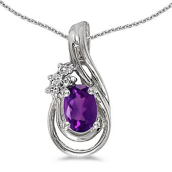 14k White Gold Oval Amethyst And Diamond Teardrop Pendant with 18