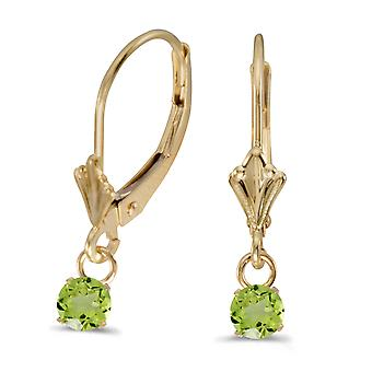 10k Yellow Gold 5mm Round Genuine Peridot Lever-back Earrings