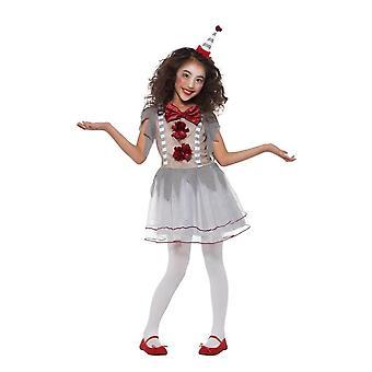 Vintage palhaço circo menina fantasia, fantasia de Halloween, médio idade 7-9