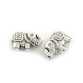 Packet 30 x Antique Silver Tibetan 9 x 13mm Elephant Beads HA17850
