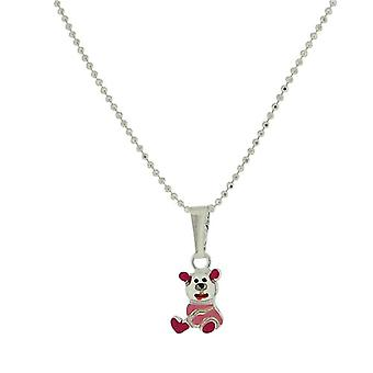 TOC Girls Sterling Silver Pink Teddy Bear Pendant Necklace 14