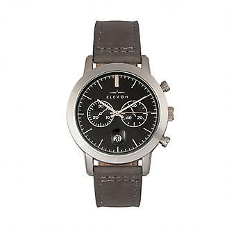 Elevon Langley Chronograph Leather-Band Watch w/ Date - Black/Grey