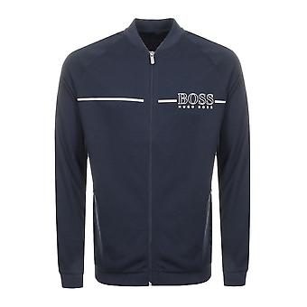 Hugo Boss Casual Hugo Boss Mens Dark Blue Metallic Logo Jacket