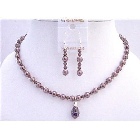 Burgundy Pearls Crystals Swarovski Crystals Bridal Jewelry Set