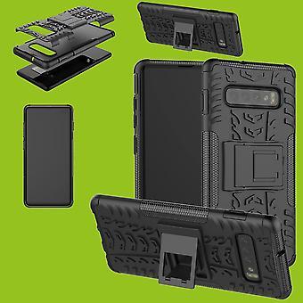 Für Samsung Galaxy Galaxy S10 G973F 6.1 Zoll Hybrid Case 2teilig Outdoor Schwarz Tasche Hülle Cover Schutz