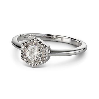För evigt klassiska runda 4,5 mm Moissanite Hexagonal formad Ring, 0,33 ct DAGG