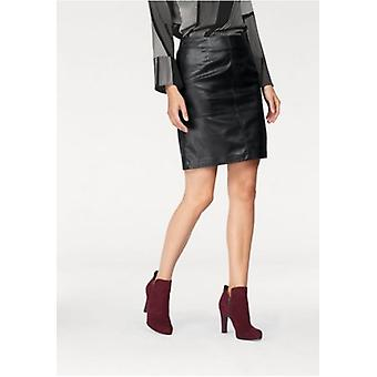 vivance collection rock of short ladies leather faux skirt with zipper black