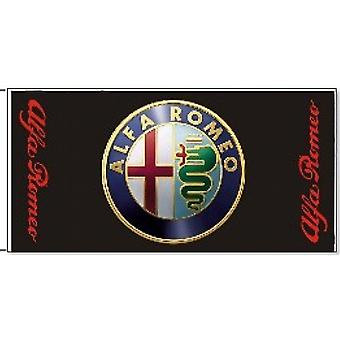 Large Alfa Romeo flag 1500mm x 900mm (black bgrd)
