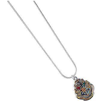 Harry Potter Halskette Hogwarts Crest silberfarben, bedruckt, aus Metall, auf Backerkarte.