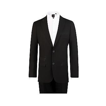 Dobell Mens schwarz Fahrleistung 2 Stück Anzug Slim Fit Peak Revers