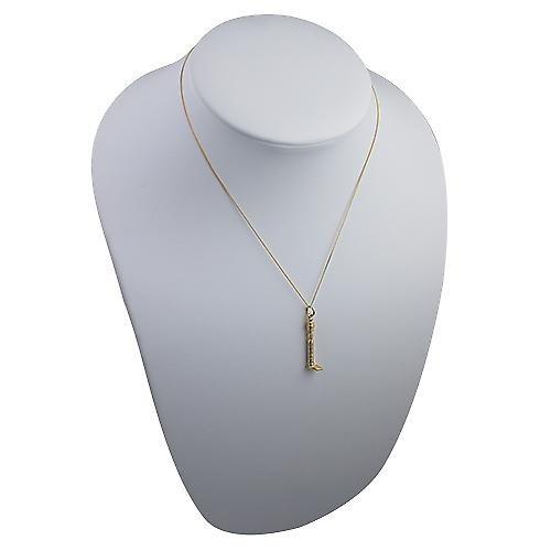 9ct Gold 7x29mm solid GPO Tower Pendant with a curb Chain 16 inches Only Suitable for Children