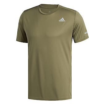 adidas Run It Mens Running Fitness Sport Training T-Shirt Tee Khaki Green