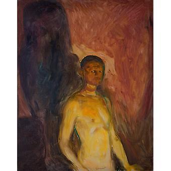 The self-portrait of hell, Edvard Munch, 50x40cm