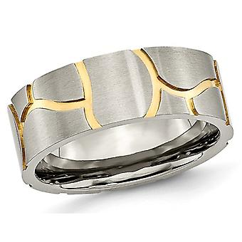 Mens Titanium 8mm Black Brushed Grooved Wedding Band with Yellow Plating