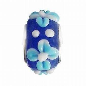 Toc Beadz Blue Flower 9mm Glass Slide-on Bead