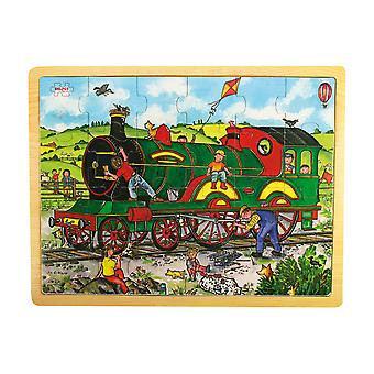 Bigjigs Toys Wooden Chunky Tray Jigsaw Puzzle (Train) Educational Learn
