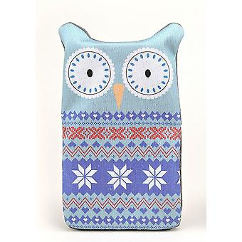 Fair Isle Animal Knitted Cover 1L Hot Water Bottle: Owl