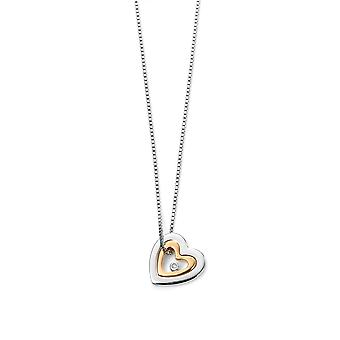 D Pour Diamant Gold Plaqué Mother Daughter Heart Pendant