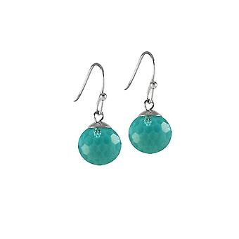 Eternal Collection Chelsea Aquamarine Crystal Disco Ball Stainless Steel Drop Pierced Earrings