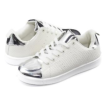 Sara Z Womens Embossed Shiny Toe Lace-Up Sneakers