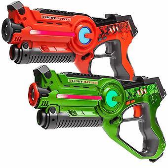 4 laserpistolen oranje en groen