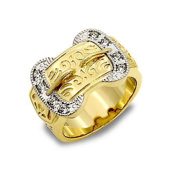Jewelco London Men's Solid 9ct Yellow Gold White Round Brilliant Cubic Zirconia Double Buckle Ring