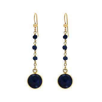 Gemshine earrings deep blue sapphire gemstone drops. 925 Silver or gold-plated