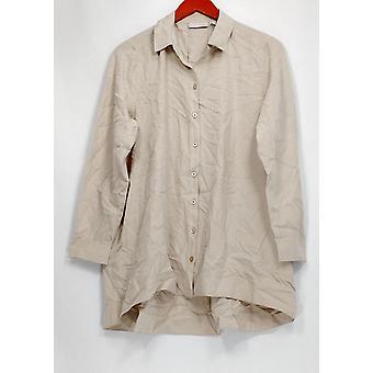 Susan Graver Femmes apos;s Petite Top Tissé Button Front Big Shirt Beige A299875